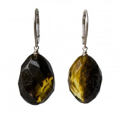 L dark green faceted olives earrings #02