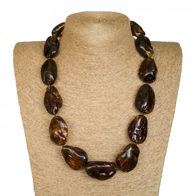 L dark green free form short statement necklace
