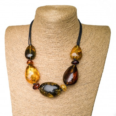 L dark mix olive necklace