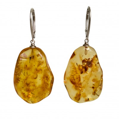 L free form cognac drops earrings