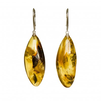 L natural amber cognac drops earrings #02