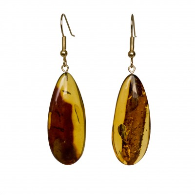 L natural amber cognac drops earrings #03