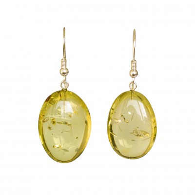 Lemon color copal bean earrings #01