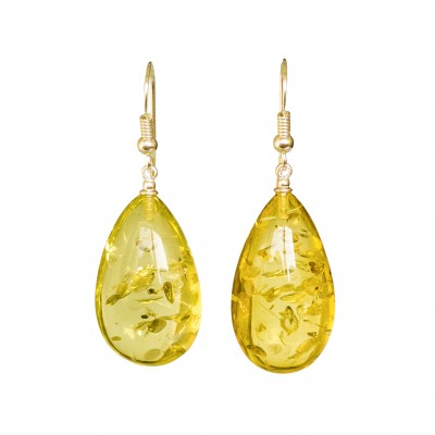 Lemon color copal earrings drops #04