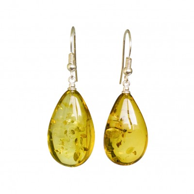 Lemon color copal earrings drops #05