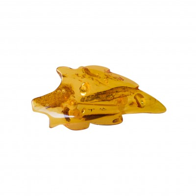 Light cognac color leaf brooch
