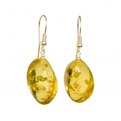 Light lemon copal twisted earrings #01