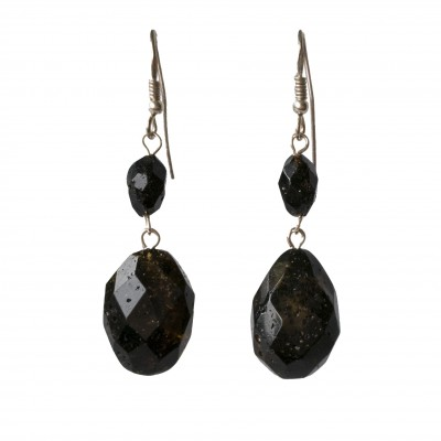 M dark green faceted olives earrings