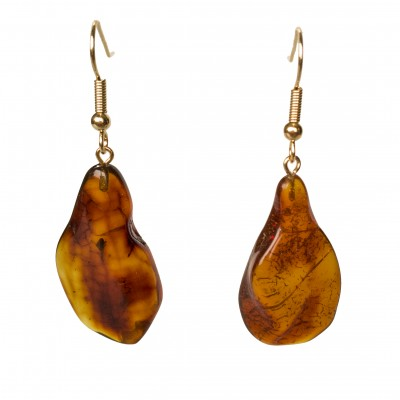 M free form cognac earrings #03