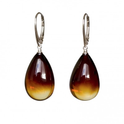 M natural amber cognac drops earrings #05