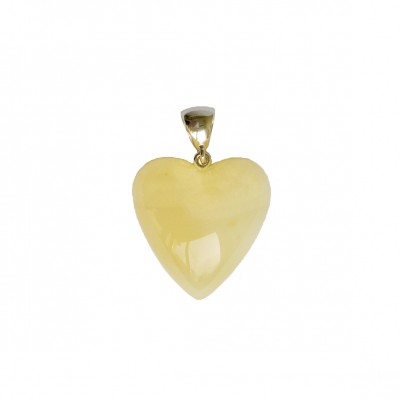 Matt color amber heart pendant #01