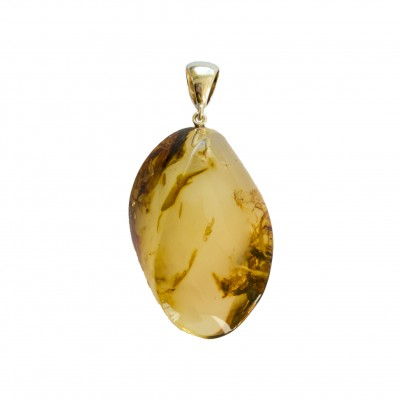 Matt color amber pendant with a twist #03