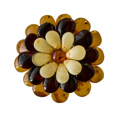 Matt x cherry x cognac flower brooch