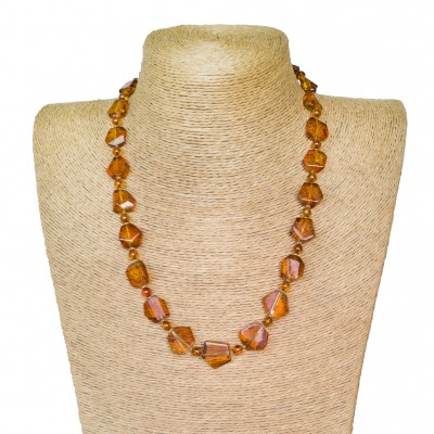 Medium cognac color faceted beads necklace #02