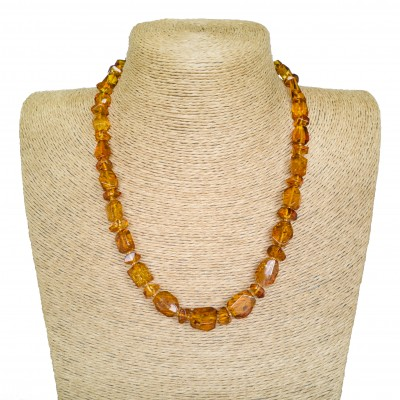 Medium cognac color faceted beads necklace #03