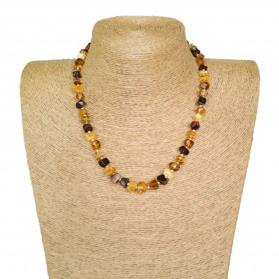 Multicolor faceted cube shape amber beads necklace