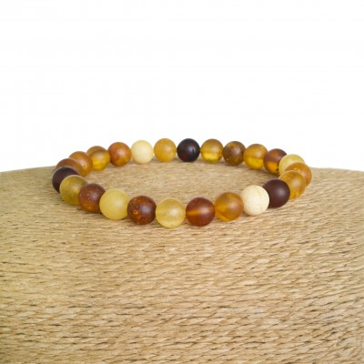 Multicolor genuine amber round (8mm) frozen beads bracelet