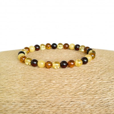 Multicolor natural amber round (6.5mm) beads bracelet