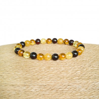 Multicolor natural amber round (7mm) beads bracelet