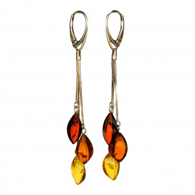 SY genuine amber multicolor twisted earrings