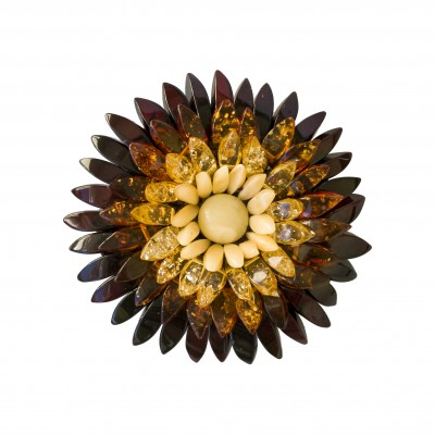 Natural amber cherry to matt dahlia brooch