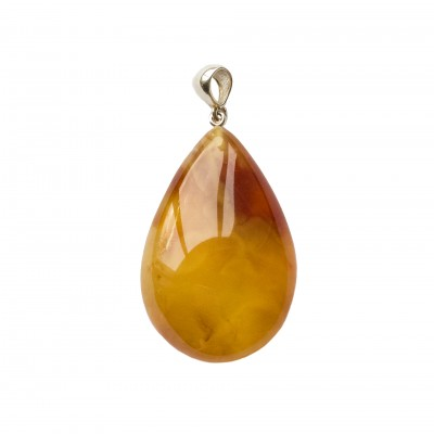 Natural amber cognac color drop pendant #03