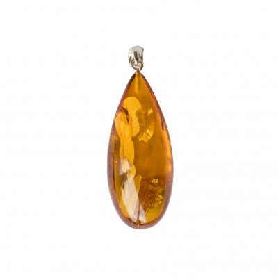 Cognac color amber pendant with a twist #02