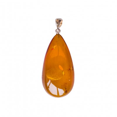 Natural amber cognac color drop pendant #06