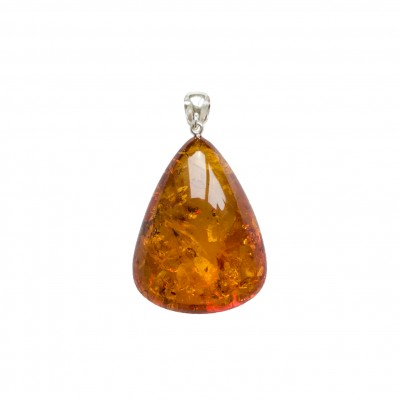 Natural amber cognac color drop pendant #09