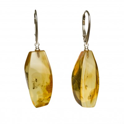 Natural amber earrings with inclussions #02