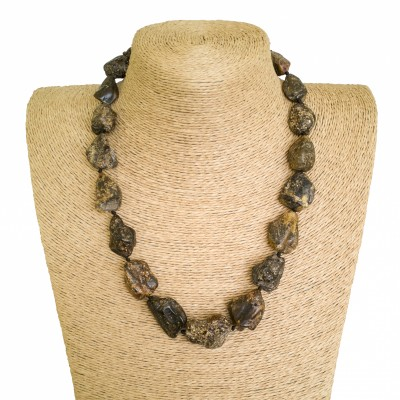 Natural Baltic amber dark free shape beads necklace