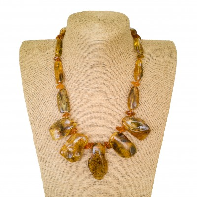 Natural Baltic amber green color free shape necklace