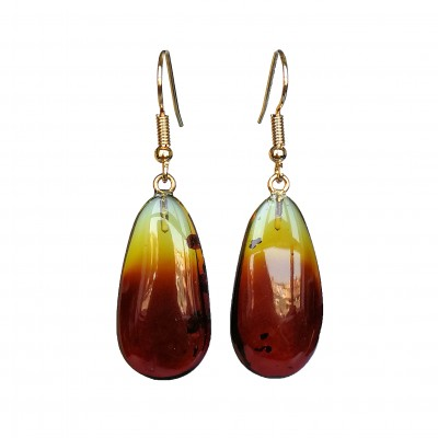 S natural amber cherry drops earrings #03