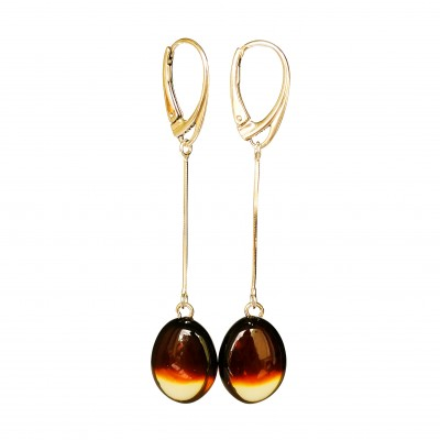 SY cherry and cognac color amber oval bead earrings