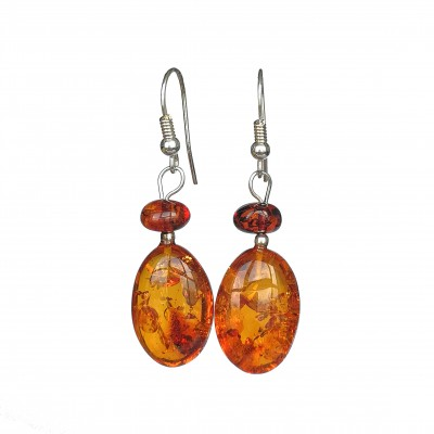Cognac plums earrings #01