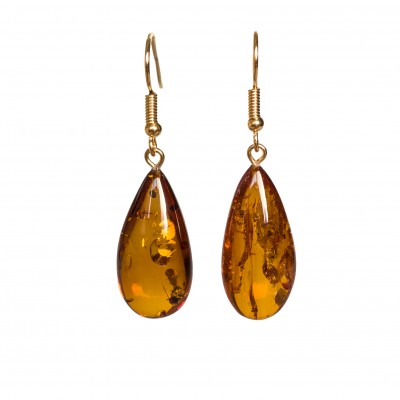 S natural amber cognac drops earrings #01