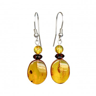 Cognac plums earrings #02