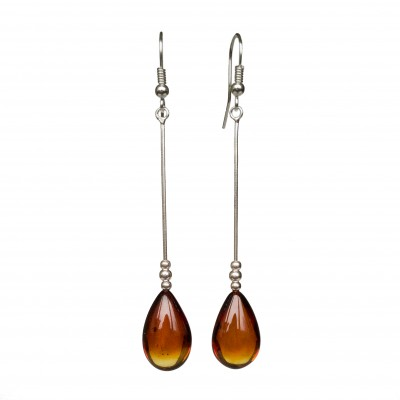 SY cognac color amber drops earrings #02