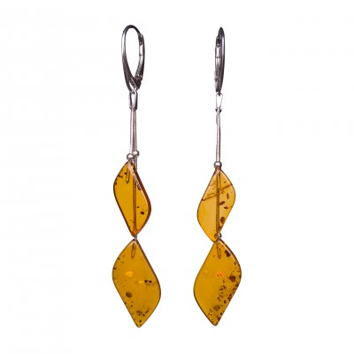 SY earrings with 2 cognac details #01