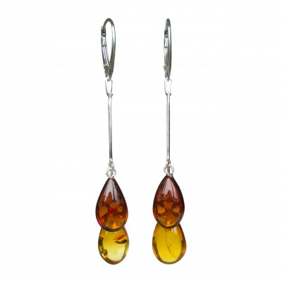 SY mix color amber drops earrings #02