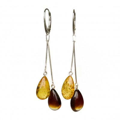 SY mix color amber drops earrings #03