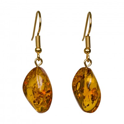 Twisted cognac amber earrings #04