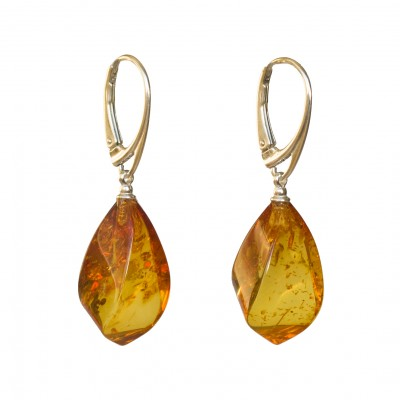Twisted cognac color amber earrings #01
