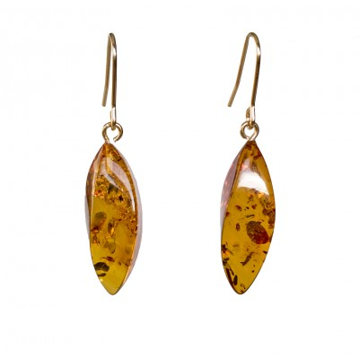 Twisted cognac earrings #03