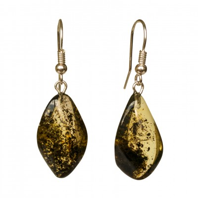 Twisted green amber earrings #01