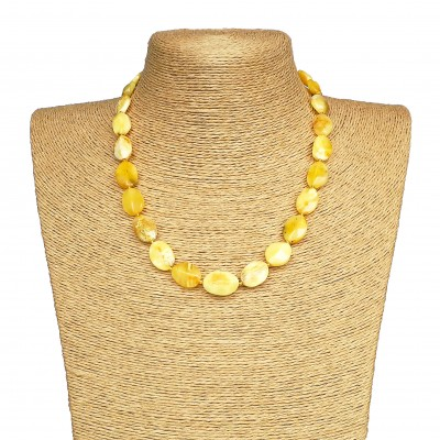 Natural matt amber twisted necklace