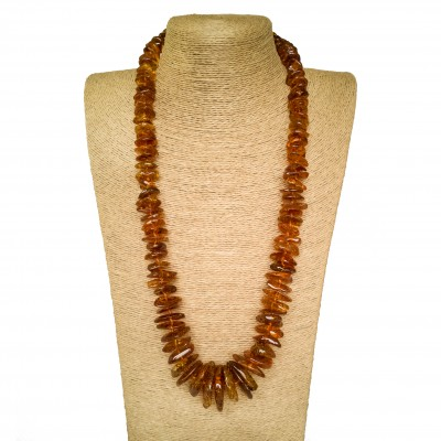 XL cognac color amber chips necklace