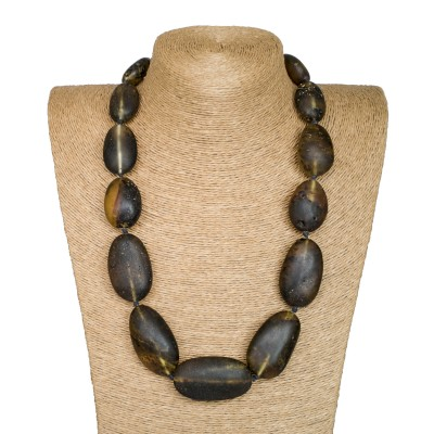 XL dark frozen oval statement necklace