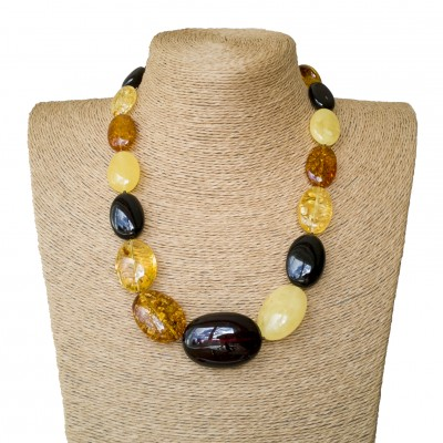 XL oval mix short statement necklace