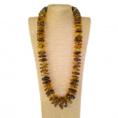XL raw multicolor long copal necklace #02